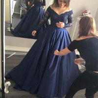 Custom Made Plus Size 2020 Prom Dresses Navy Blue Satin Lace...