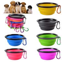 Dog Travel Bowl Portable Plegable Plegable Pet Cat Dog Food Alimentación de Agua Viajes Al Aire Libre Bowl de Silicona Con Mosquetón 9 Colores DHL