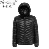 NewBang 8XL 9XL 10XL 11XL утка пуховик мужчины Осень Зима куртка мужчины с капюшоном водонепроницаемый пуховики мужской теплый пуховик Cj191129