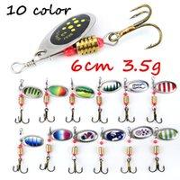 1pc 10 colores 6 cm Mixta 3,5 g Spinner cebos metal señuelos de pesca # 6 ganchos BL_49