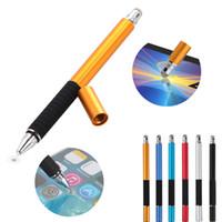2 en 1 Mutilfuction Point fine rond Touche mince tactile tactile stylo stylet capacitif pour iPad iPhone Tous les téléphones mobiles Tablette