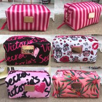 Pink print large capacity makeup bag cosmetic bags travel st...