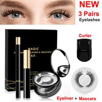 Magia pestanas falsas Líquido Delineador Mascara Kit com encrespador Não cola impermeável reutilizável Eye Lashes Não cílios Magnetic Maquiagem Espelho