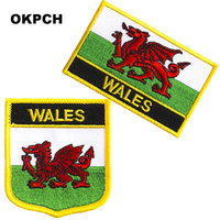 Spedizione gratuita WALES Flag Embroidery Iron on Patch 2pcs per Set PT0242-2