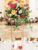 2020 золото белый популярные напольные вазы краткая подставка для цветов металлическая дорога ведущий свадебный центральный элемент для ну вечеринку украшения дома