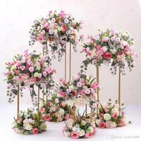 Wrought iron geometric rectangular frame wedding party table centerpiece road lead artificial flowers backdrop stand decoration