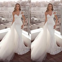 2020 пляж белые кружевные свадебные платья русалка одно плечо спинки свадебные платья с тюлевым поездом пляж сад Vestido De Noiva BC3142