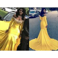 Mermaid maniche lunghe giallo Prom Dresses 2019 New Off The Shoulder Sweep Strain Applique di pizzo che borda il vestito da sera formale Abiti da festa