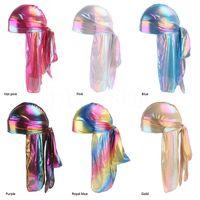 Мужчины / Женщины Шелковый полиэстер Bandana Hat Durag Trag Hait Headwoot Headwear Подарок Лазер Симулятор Шелковый Длинный Хвост Пиратская Шляпа DA204