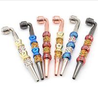 Tubo di fumo in metallo colorato con copertura diamante perla perla tabacco sigaretta a mano filtro cucchiaio di tubi staccabili multipli 5 stili