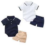 Kinder Designer Kleidung Jungen Herren Outfits Infant Kleinkind Strampler + Shorts 2pcs / set 2019 Sommer Baby Kleidung Sets C6610