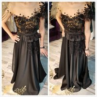 2019 Arabic Black Sexy Evening Dresses Sheer Neck Beaded A- l...