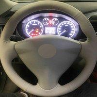 توجيه السيارات مخيط باليد DIY تغطية عجلة القيادة لسيارات نيسان تيدا سيلفي سنترا العكس ملاحظة