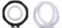 16x16cm ROUND أسود أبيض العائم موقوف العرض عملات حالة PET غشاء الاكريليك الأحجار الكريمة والمجوهرات حامل صندوق