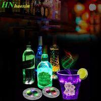 Garrafa de Haoxin LED Luz Adesivos Garrafas de vinho Glorifier luzes Coaster Copos Mat Party Bar Club Vaso Decoração de Natal