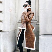 불규칙한 가죽 재킷 플러스 사이즈 겨울 긴 가짜 모피 코트 여성 한국어 패션 의류 패션 코트