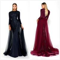Mermaid Lace 2019 Arabic Evening Dresses Long Sleeves Satin ...