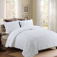 Weiße Farbe Stickerei Rose Bedspread Coverlet Baumwolle gesteppte Quilts Bettwäsche Europa Mordens Bedcover Pillowcase Patchwork Quilting Quilt