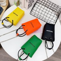 Chain bucket bag trend fluorescent color bag woman small sho...