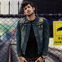 Nuevo color sólido Hombres Denim Chaqueta Moda Primavera y otoño Hombre Simple Lavado Slim Fit Retro Agujero Azul Jeans Chaqueta Abrigo