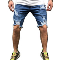 Pantalones cortos de moda de los hombres de los hombres de los hombres de la moda de los hombres de los hombres para el desgaste al aire libre de la calle Hip Hop Brocken pantalón corto
