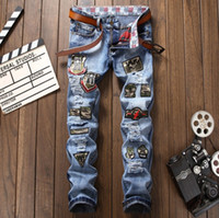Designer Jeans Men Clothing Male Blue Red- crowned Embroidery...