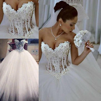 2020 Ball Gown Abiti da sposa Sweetheart corsetto See Through Piano Lunghezza Abiti da sposa principessa merletto in rilievo perle su ordine HY345