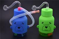 Мини-Бонг толстые пьянящие стекла dab буровые установки барботер нефтяной вышки 10 мм мужской пластиковая бутылка воды Бонг с 10 мм стекла горелки трубы и шланг