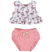 Baby Toddler senza maniche Animal Flamingo Top PP Shorts 2 pezzi Set rosa Outfit Baby neonato Summer Clothes Abbigliamento Tuta