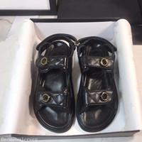 2020 bastón mágico verano en blanco y negro tamaño del cowskin del cuero genuino manera de la plataforma de las sandalias de las mujeres zapatos de los planos 35-40 sandalia romana