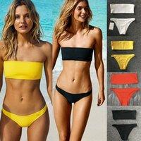 Femmes solides taille haute Ensemble bikini taille basse Maillot solide Soutien-gorge sans manches push bikini bandeau