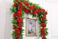 الحرير الورود اللبلاب كرمة الزهور الاصطناعية مع الأوراق الخضراء للمنازل مناسبات الزفاف شنقا جارلاند ديكور LXL844Q