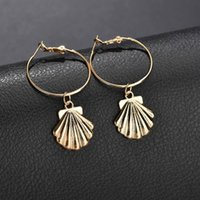 New design shell drop earrings korean fashion style gold sil...