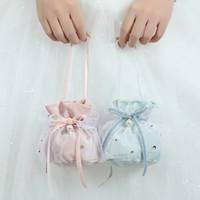 2020 Accessoires de mariage rose / lumière Porte-Faveur Bleu / rouge foncé de mariée bonbons Boîtes Favor Sacs décorations de mariage 5 par set