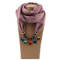 Vintage Foulard pour Femme de style européen et américain Wrap Lady Mode Multicolor Perles strass alliage ordinaire en mousseline de soie Pendentif Echarpes