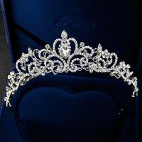 Avrupa ve Amerika Birleşik Devletleri High-end Gelin Tiara Taç Prenses Tiara Alaşım Rhinestone Gelinlik Taç Toptan