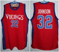 لانسينغ ايفرت مدرسة ثانوية الفايكنج ماجيك جونسون # 32 الأحمر ريترو كرة السلة جيرسي رجال مخيط مخصص عدد اسم الفانيلة