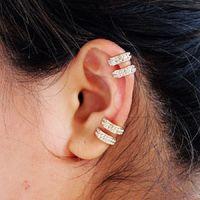 Круглый Ear Cuff Кристалл Rhinestone серьга для женщин Hip Hop Trendy 2 Рядов серьги клипа Rhinestone без пирсинга Punk ювелирных изделий