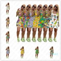 S-3XL Frauen-Sommer-Karikatur-Kleid Designer Röcke Weste-Träger Kleider Sommer Anime für Kinder Junge Mädchen fester Rock Bademode Partei-Kleid D5804