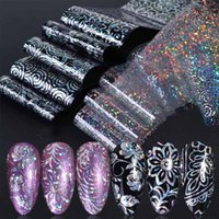 10pc Holographic Foils Navil Transfer Wraped Flower Snowflake Clear Black Linchesive Sticker Set Stail Foil Gradient Tips
