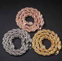 Mens 9mm heló hacia fuera la cuerda de la cadena cristalina del Rhinestone de la plata del oro rosa collar de cadena de oro 18inch-24inch joyería de Hiphop