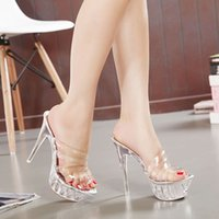 LTARTA Summer Transparent Ladies High Heel Sandals Fish Mout...