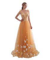 Romantische Abendkleidung Sheer Ausschnitt Abendkleider Sexy Sleeveless einer Linie Tüllrock mit dem Schmetterlings-Cocktailparty-Kleid