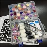 45 farben glitter pulver 6 klebstoffe 2 pinsel 5 hohl vorlage kit für temporäre tattoo kinder gesicht körper diy diy kunst malerei