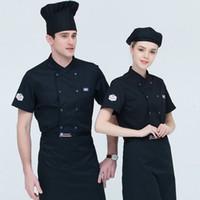 Chef Mutfak Kıyafetleri En Yaz Kısa Kollu Chef Servisi Restoran Otel Garson tulumları Ceket İş Kıyafetleri İşleme Üniforma T200502