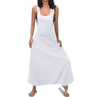 Plus Size Lose Overalls Für Frauen Solide Weiß Schwarz Taste Tasche Riemchen Baggy Overalls Monos Largos Mujer Pantalon Largo 5 Y19060501