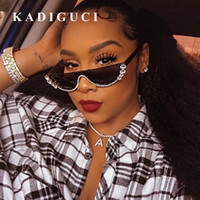 KADIGUCI New Fashion Cat Eye Sonnenbrille Damen Vintage Brille Metall Schmuckstück mit Strass Dekoration Cat Eyes Sonnenbrille Vintage Shade K310