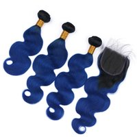 Azul oscuro peruana Ombre Vírgenes humano teje la trama del pelo con el cierre de la onda del cuerpo # 1B / Cierre de tapa del cordón azul Ombre 4x4 con la armadura de paquetes