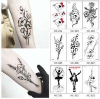 Hot 1 STÜCK Beliebte Ballett Schwarz Weiß Blumen Tattoos Aufkleber Temporäre Zeichnung Body Art Gefälschte Wasser Transfe