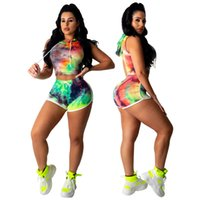 Summer Womens Tie Dye Tute Casual Donna Hood Gradient Sports Set Fashion Ladies Set da 2 pezzi